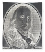 Ben Franklin In Negative Fleece Blanket