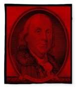 Ben Franklin In Red Fleece Blanket