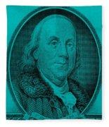 Ben Franklin In Turquois Fleece Blanket