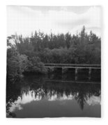 Big Sky On The North Fork River In Black And White Fleece Blanket