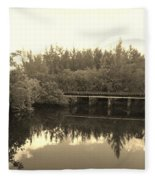 Big Sky On The North Fork River In Sepia Fleece Blanket
