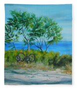 Bikes Waiting Fleece Blanket