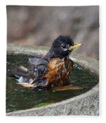 Bird Bath Fun Time Fleece Blanket