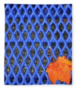 Blue Bench And Autumn Leaves Fleece Blanket