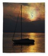 Boat In Sunset Fleece Blanket
