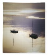 Boats In Mist Fleece Blanket