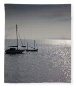 Boats Moored Off Of Leigh Essex Fleece Blanket