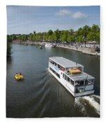 Boats On River Dee Fleece Blanket