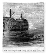 British Prison Ship, 1770s Fleece Blanket
