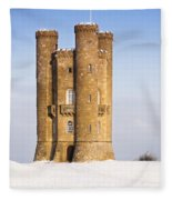 Broadway Tower In Winter Snow Fleece Blanket