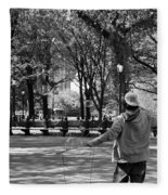 Bubble Boy Of Central Park In Black And White Fleece Blanket