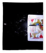 Bullet Hitting A Playing Card Fleece Blanket
