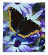 Butterfly In Blue Fleece Blanket