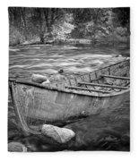 Canoe On The Thornapple River Fleece Blanket