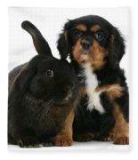 Cavalier King Charles Spaniel And Rabbit Fleece Blanket