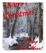 Christmas Along The Creek Fleece Blanket