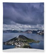 Clouds Over Crater Lake Fleece Blanket
