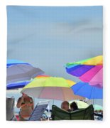 Coast Guard Beach Umbrellas Fleece Blanket
