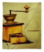 Coffee Mill And Beans In Grunge Style Fleece Blanket
