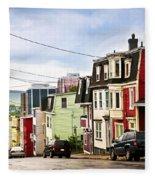 Colorful Houses In Newfoundland Fleece Blanket