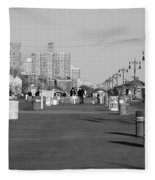 Coney Island Boardwalk In Black And White Fleece Blanket