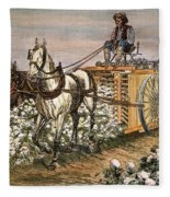 Cotton Harvester, 1886 Fleece Blanket