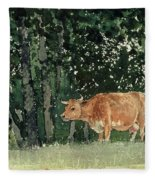 Cow In Pasture Fleece Blanket