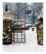 Decorative Iron Gate In Winter Fleece Blanket