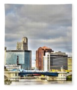 Downtown Toledo Riverfront Fleece Blanket