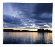 Dramatic Sunset At Lake Fleece Blanket