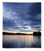 Dramatic Sunset At Lake Fleece Blanket