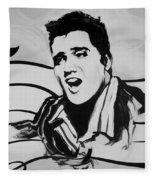 Elvis In Black And White Fleece Blanket