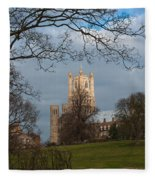 Ely Cathedral In City Of Ely Fleece Blanket