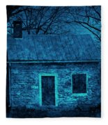 Enchanted Moonlight Cottage Fleece Blanket