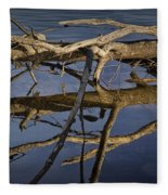 Fallen Tree Trunk With Reflections On The Muskegon River Fleece Blanket