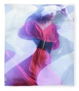 Fashion Photo Of A Woman In Shining Blue Settings Wearing A Red  Fleece Blanket