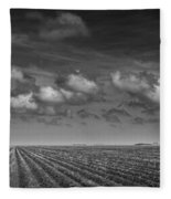 Field Furrows And Clouds In South East Texas Fleece Blanket