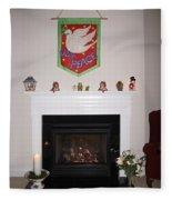 Fireplace At Christmas Fleece Blanket