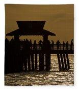 Fishing At Naples Pier Fleece Blanket