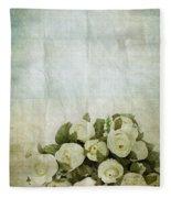 Floral Pattern On Old Paper Fleece Blanket