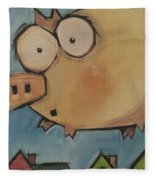 Flying Pig First Flight Fleece Blanket