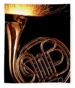 French Horn With Sparks Fleece Blanket