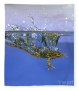 Frog Jumps Into Water Fleece Blanket