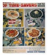 Frozen Food Ad, 1957 Fleece Blanket