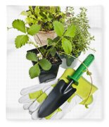 Gardening Tools And Plants Fleece Blanket