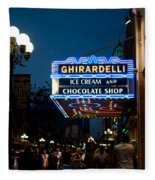 Ghirardelli Chocolate Signs At Night Fleece Blanket