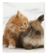 Ginger Kitten And Young Lionhead-lop Fleece Blanket