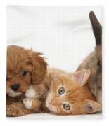 Ginger Kitten With Cavapoo Pup Fleece Blanket