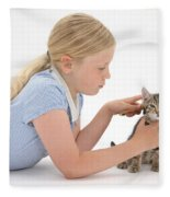 Girl Grooming Kitten Fleece Blanket