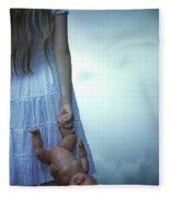 Girl With Baby Doll Fleece Blanket